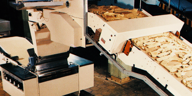 Dough feed to a rotary moulder with metal detector on infeed conveyor