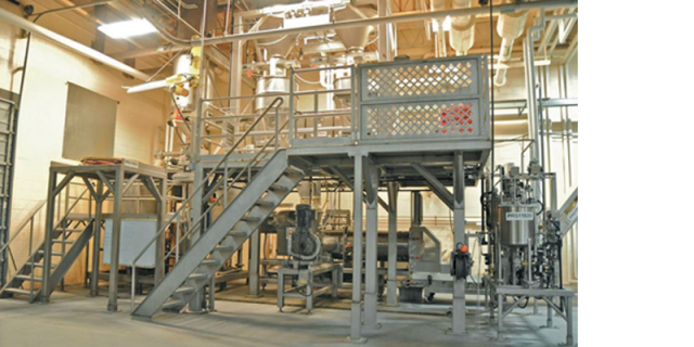 The complete continuous mixing system is compact on floor space yet allows easy access to all components