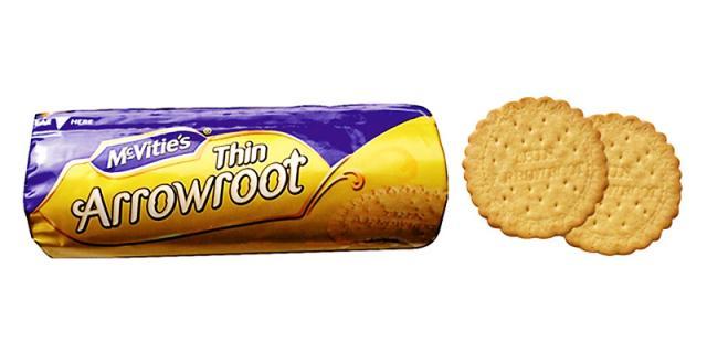 Arrowroot biscuit packaging