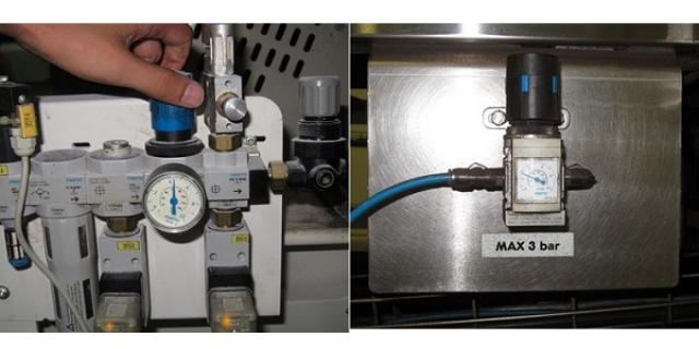 Left: A too high tensioning of >4 bar // Right: A good tensioning with an indicating label for the maximum force.