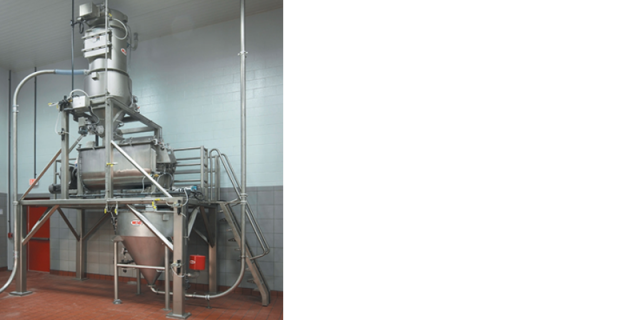 This pre-blending system combines micro and minor ingredients that are then pneumatically metered to the continuous mixer.