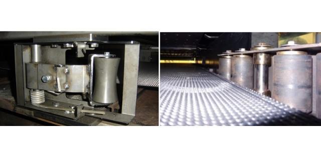 Left: vertical side rollers in good condition // Right: rollers showing marks of frequent contacts to the belt edges