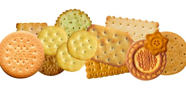 Crackers, semi-sweet and rotary moulded biscuits for a multi-purpose production line