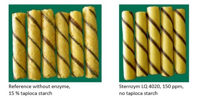"Effect of the use of a ""wafer enzyme"" on the quality of two-coloured sweet wafer rolls"