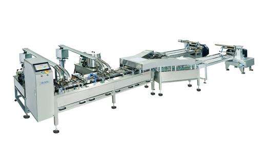 EverSmart biscuit sandwiching machine with two horizontal flow wrapping machines