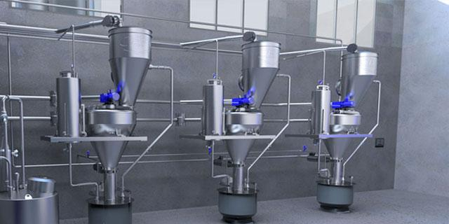 Dosing system for powders and liquids on three lines with vertical blenders and touch panel