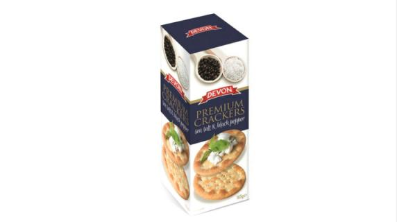 Biscuits Premium crackers: Sea salt & pepper produced by Consolidated Biscuit Co. Ltd.