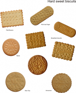 The Biscuits - hard sweet biscuits: Examples of hard sweet biscuits are Marie, Petit Buerre, Rich Tea, Arrowroot, Gem, Morning Coffee
